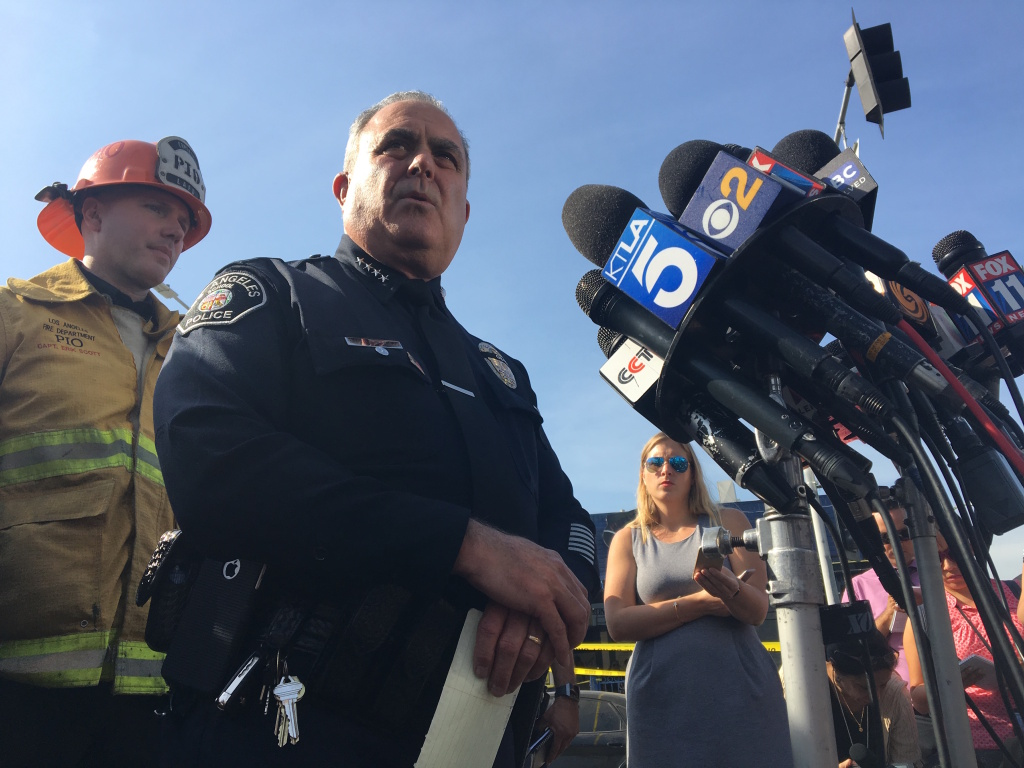 Los Angeles School Police Chief Steve Zipperman addresses reporters during a press conference following a gun incident at Sal Castro Middle School in L.A.'s Westlake neighborhood.