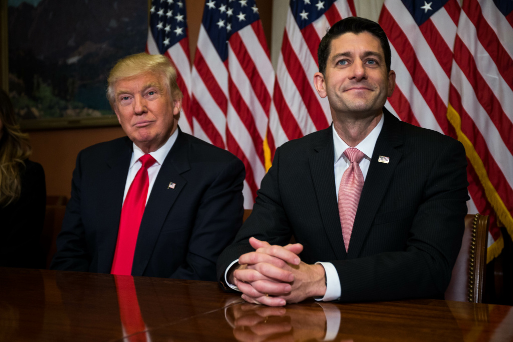 NOVEMBER 10: President-elect Donald Trump meets with House Speaker Paul Ryan (R-WI) at the U.S. Capitol for a meeting November 10, 2016 in Washington, DC.