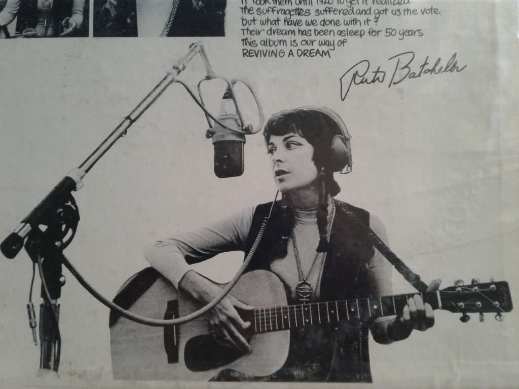 "Ruth Batchelor, pictured on the back cover of her album ""Songs for Women's Liberation: Reviving a Dream"""