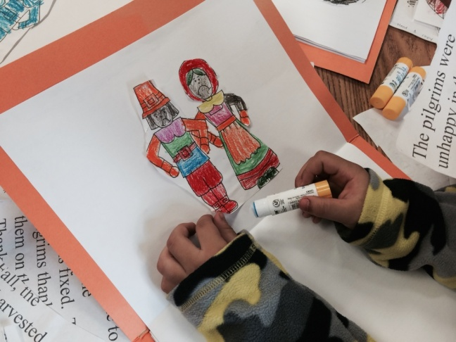 Kindergarten students at Weemes Elementary in Exposition Park study the first thanks giving story in 2014, adding culture and flavor of their own.