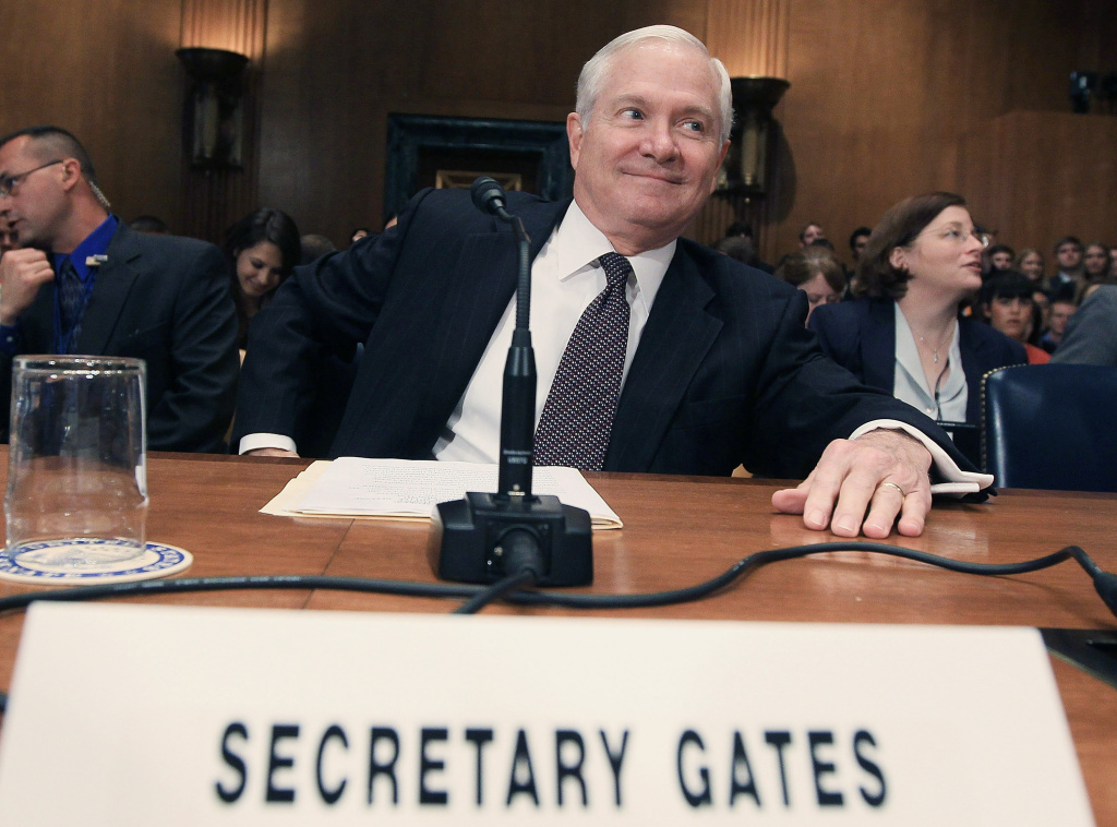 Former U.S. Defense Secretary Robert Gates smiles while participating in a Senate Defense Subcommittee hearing on proposed budget estimates for FY2012 for the Defense Department, on June 15, 2011 in Washington, DC.