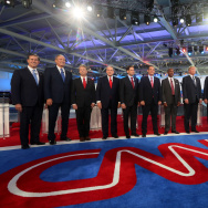 Republican presidential candidates (L-R) Rick Santorum, George Pataki, U.S. Sen. Rand Paul (R-KY), Mike Huckabee, U.S. Sen. Marco Rubio (R-FL) , U.S. Sen. Ted Cruz (R-TX),  Ben Carson, Donald Trump, Jeb Bush, Wisconsin Gov. Scott Walker, Carly Fiorina, Ohio Gov. John Kasich and New Jersey Gov. Chris Christie stand onstage during the presidential debates at the Reagan Library on September 16, 2015 in Simi Valley, California. Fifteen Republican presidential candidates are participating in the second set of Republican presidential debates