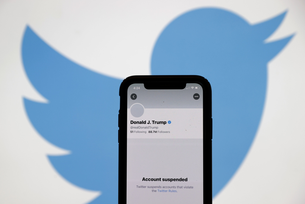 The suspended Twitter account of U.S. President Donald Trump appears on an iPhone screen on January 08, 2021 in San Anselmo, California.