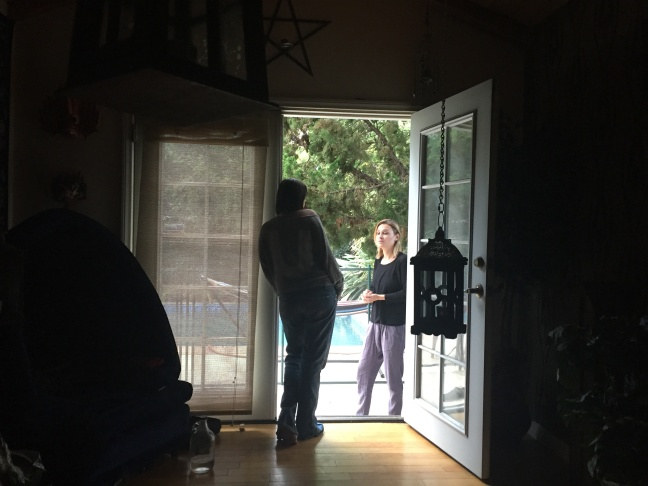 Rachel Stavis at the door of the Van Nuys guest house where she performs her exorcisms.