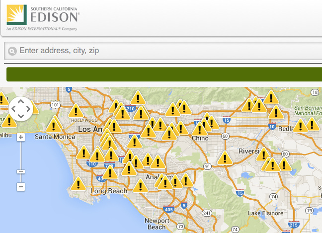 A screengrab shows Southern California Edison's outages at mid-day August 28, when temperatures were over 100 degrees across its 50,000 square-mile, 5-million person service area