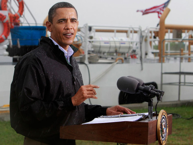 President Obama talks to reporters Sunday in Venice, La., as he visits the Gulf Coast region affected by a massive oil spill.