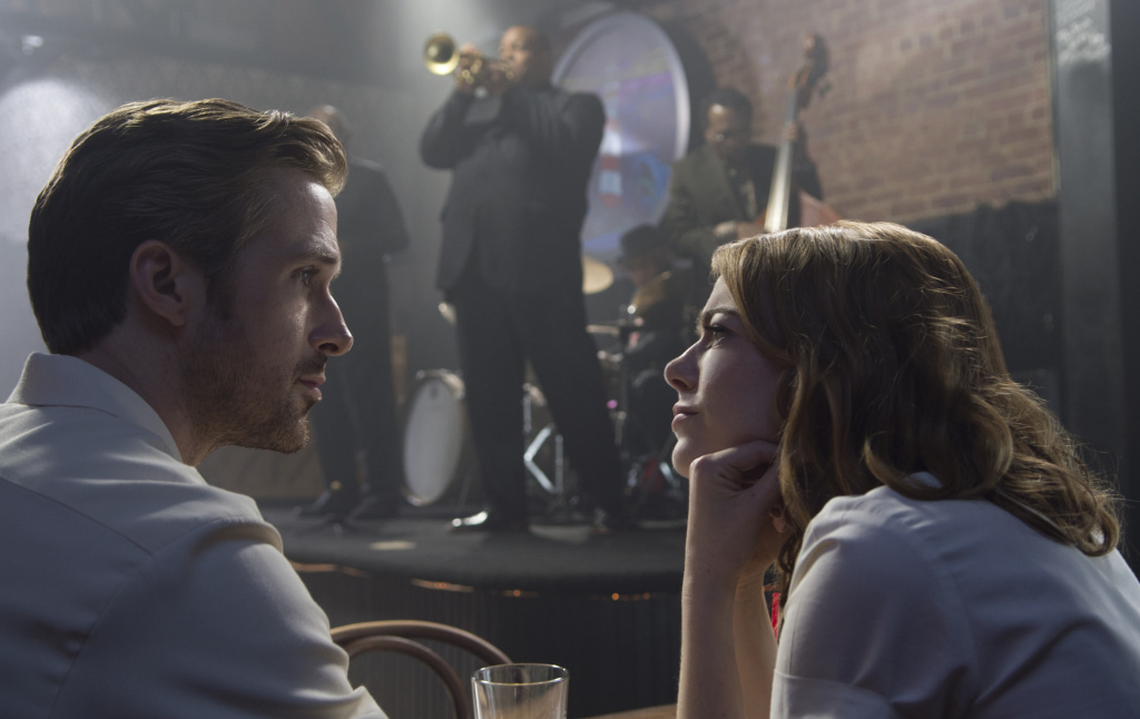 Emma Stone and Ryan Gosling in a scene from