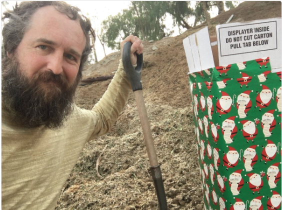 Photo posted on Twitter by Robert Strong of Eagle Rock. Strong said he was the person who put horse manure in a gift-wrapped box left near the Bel Air home of U.S. Treasury Secretary Steve Mnuchin on the night of Dec. 23.