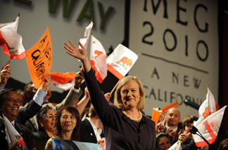 California Republican gubernatorial candidate Meg Whitman takes the stage during her primary election night party at the Hilton Hotel in Universal City, California July 8, 2010.