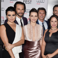 (L-R) Actors Cote de Pablo, Rodrigo Santoro, Juliette Binoche, Lou Diamond Phillips, director Patricia Riggen and actors Juan Pablo Raba and Antonio Banderas.