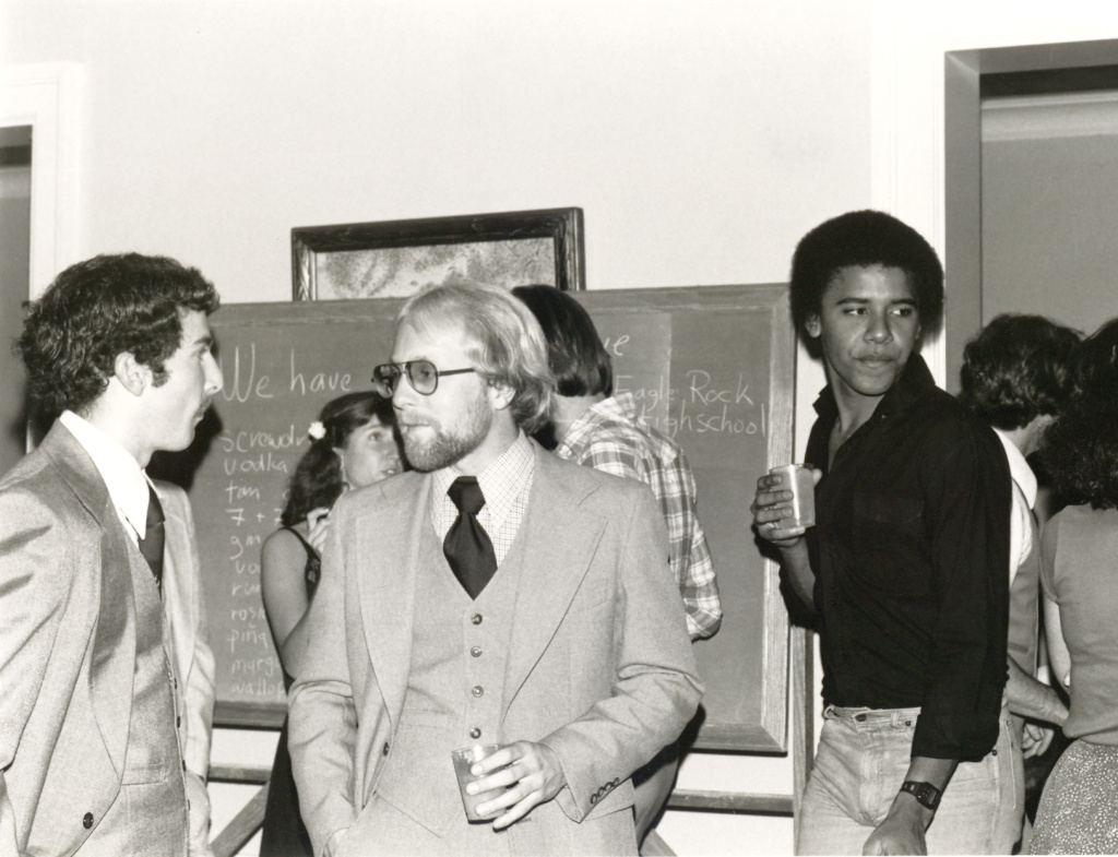 Barack Obama (far right) at Occidental College, with classmates Mike Malouf (from left) and Bill Knutson.