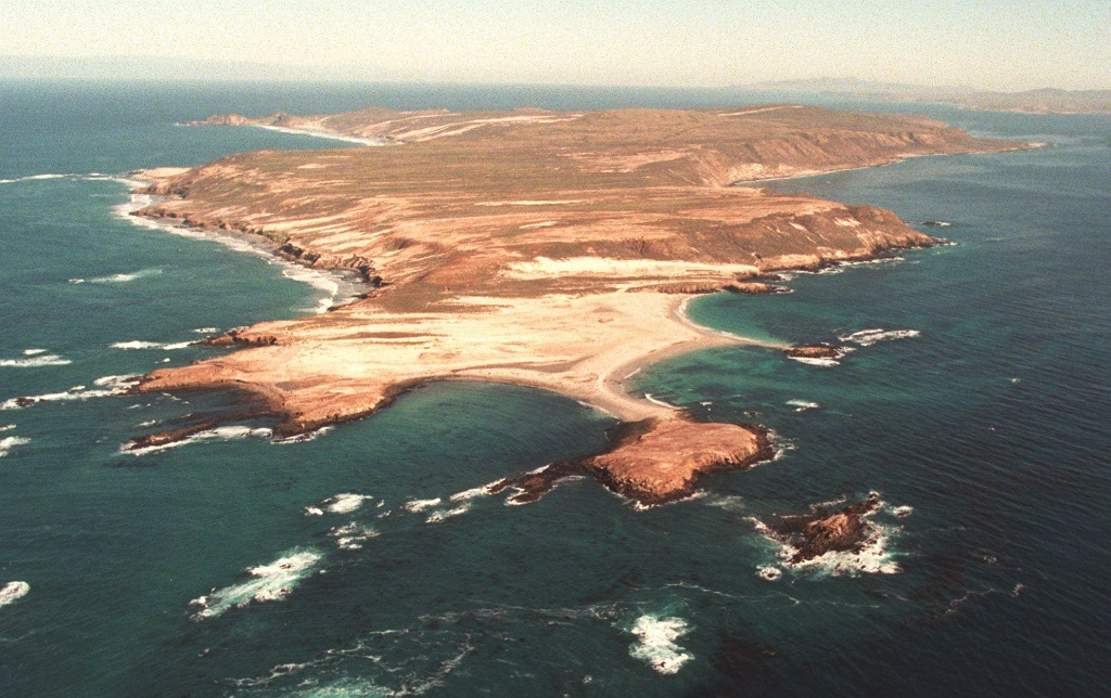 Aerial view shows San Miguel Island, CA.
