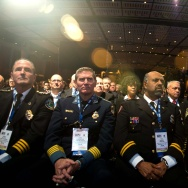 Law enforcement officers listen to US President Barack Obama speak at the International Association of Chiefs of Police Annual Conference and Exposition in Chicago.