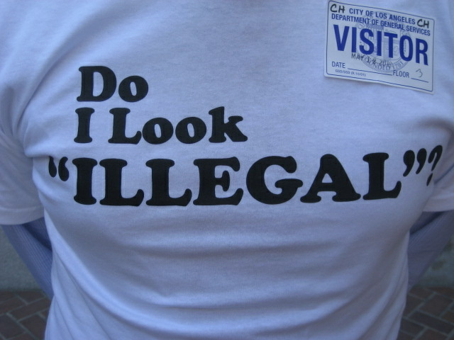 Carl Bergquist, a blond-haired Swedish immigrant, wore this T-shirt to a Los Angeles City Council meeting where the council approved an economic boycott of Arizona.