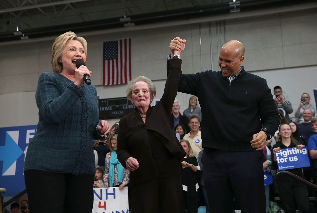 (L-R) Democratic presidential candidate former Secretary of State Hillary Clinton, former Secretary of State Madeleine Albright and U.S. Sen. Cory Booker (D-NJ) participate in a get out the vote organizing event at Rundlett Middle School.