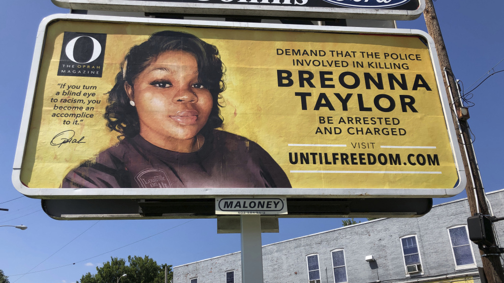 A billboard with a photo of Breonna Taylor, sponsored by <em>O, The Oprah Magazine</em>, is on display on Friday in Louisville, Ky. It's one of 26 billboards going up across the city demanding arrests in her shooting death.