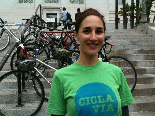 Heidi Zeller of the CicLAvia steering committee at Los Angeles City Hall, Sept, 22, 2010.