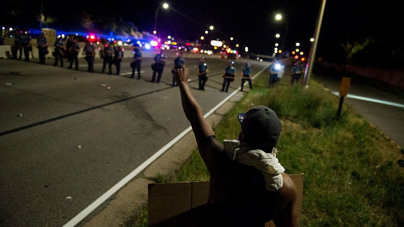 Bills in state legislatures across the country would increase penalties for protests that block highways, such as these in St. Paul, Minn. in the summer of 2016.