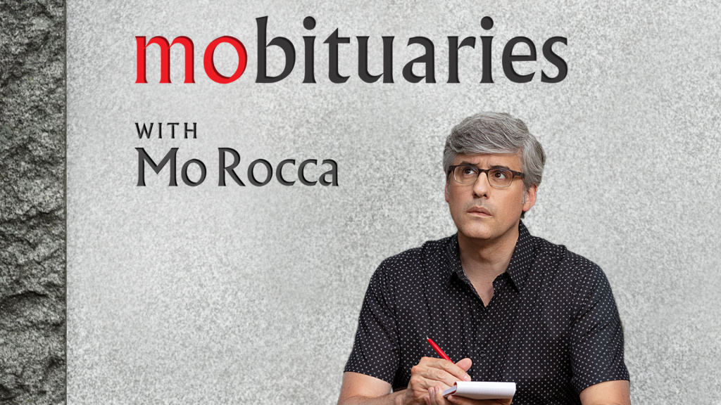 The logo for 'Mobituaries' with Mo Rocca