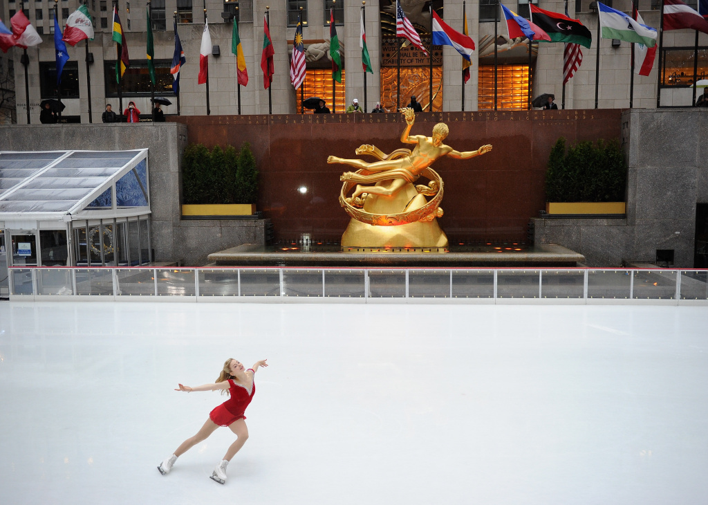 Olympic figure skater Gracie Gold skates at The Rink at Rockefeller Center on January 14, 2014 in New York City.
