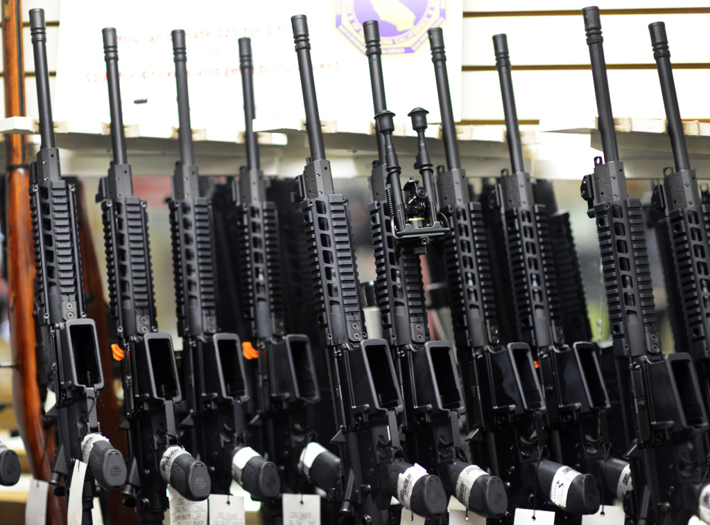 Various AR-15 weapons for sale in the shop at On Target shooting range in Laguna Niguel. The same weapon can be made using the Ghost Gunner machine.