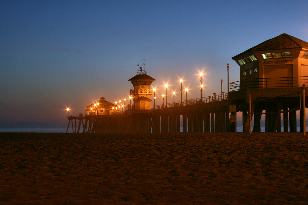 Photo of the Huntington Beach Pier after sunset.