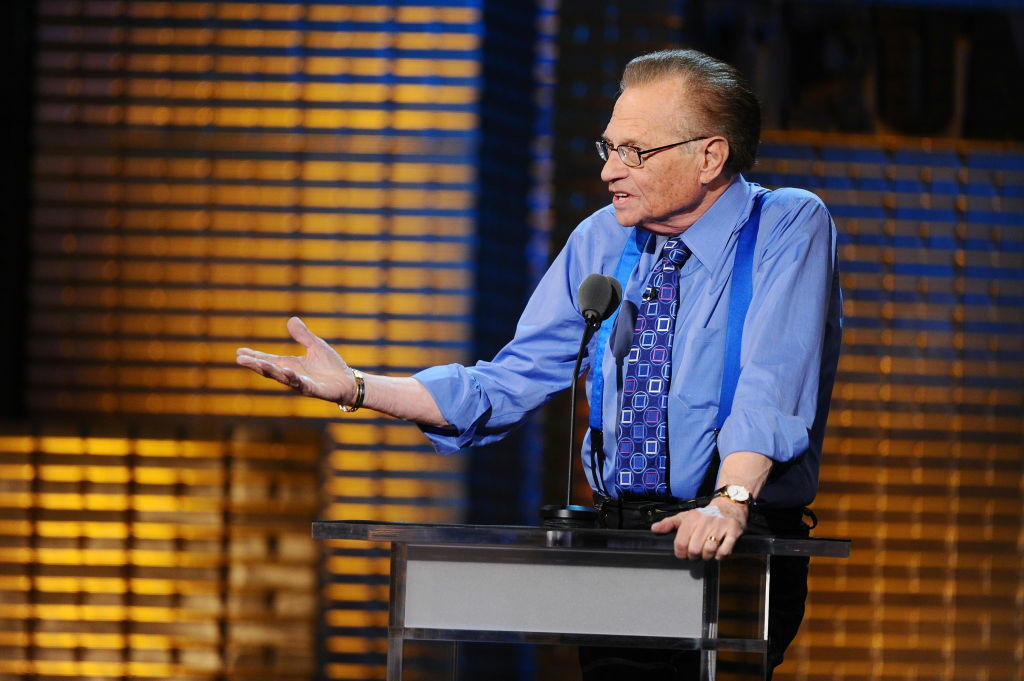 Larry King performs onstage at the Comedy Central Roast Of Donald Trump at the Hammerstein Ballroom on March 9, 2011 in New York City.
