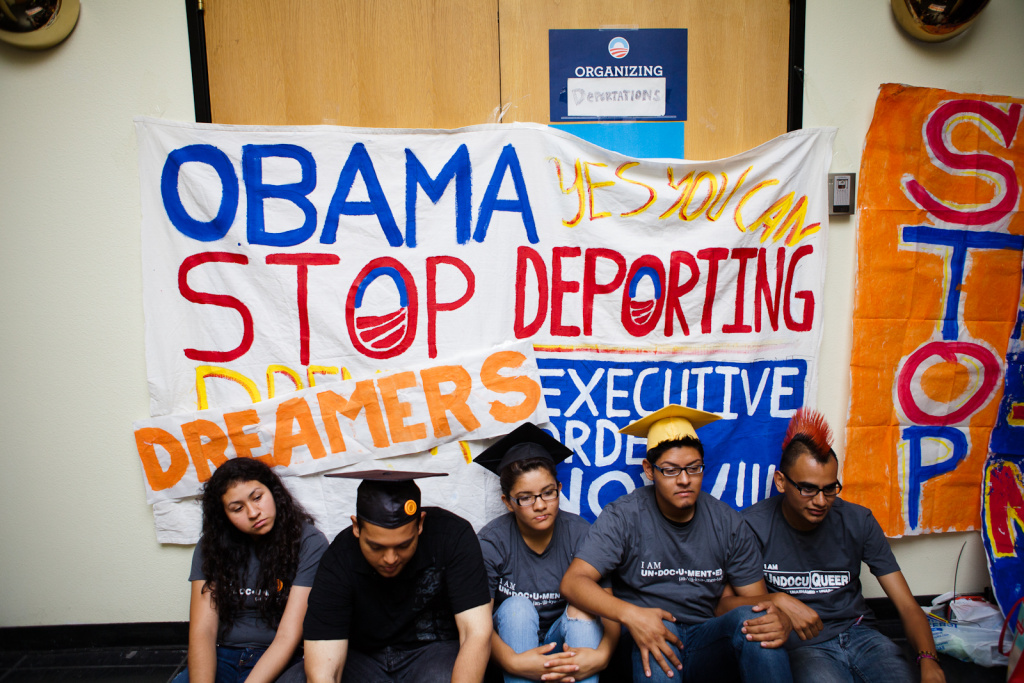 On June 15, 2012 undocumented immigrant students (right to left) Antonio Cabrera, David Buenrostro, Jahel Campos, Adrian James, and Myisha Arellano occupy President Barack Obama's Culver City campaign office to ask for the passage of the DREAM Act.
