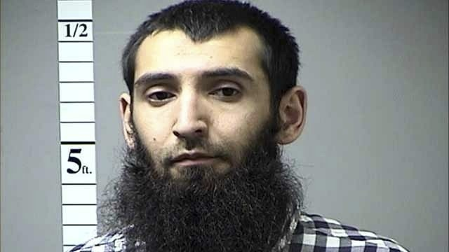 This undated photo provided by St. Charles County Department of Corrections via KMOV shows the Sayfullo Saipov. A man in a rented pickup truck mowed down pedestrians and cyclists along a busy bike path near the World Trade Center memorial on Tuesday, Oct. 31, 2017, killing several. Officials who were not authorized to discuss the investigation and spoke on the condition of anonymity identified the attacker Saipov.