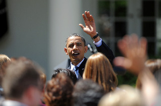 US President Barack Obama greets teachers after awarding the National Teacher of the Year 2010 Sarah Brown Wessling, from Johnston High School, Johnston, Iowa, on the Rose Garden at the White House in Washington, DC, on April 29, 2010.