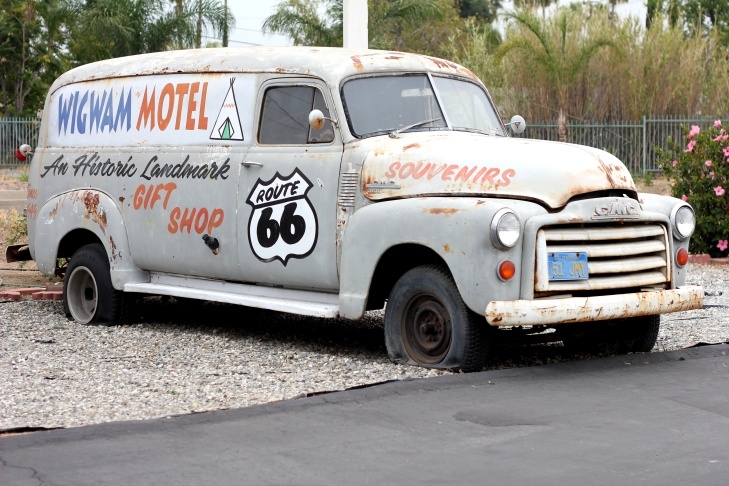 The Wigwam Motel's welcome wagon.