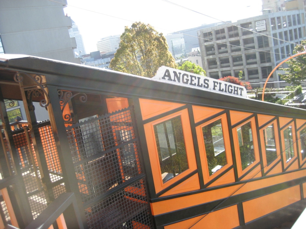 Angels Flight rail car descends Bunker Hill in downtown Los Angeles