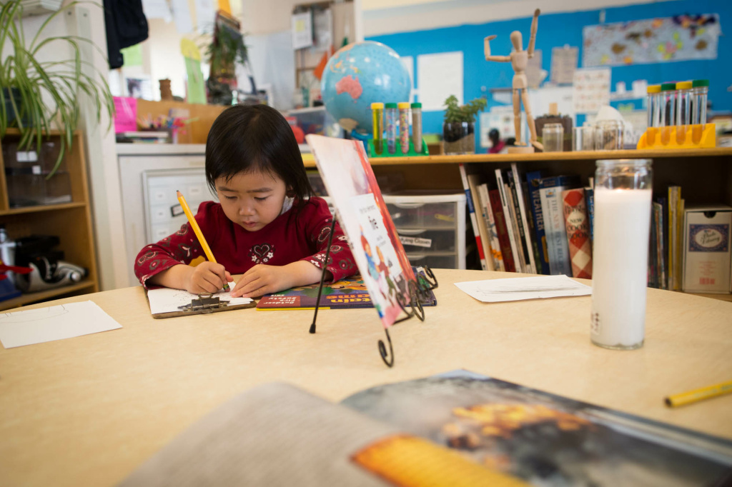 Children go through an elaborate science curriculum at University Village, one of three pre-schools run by UCLA Early Care and Education.