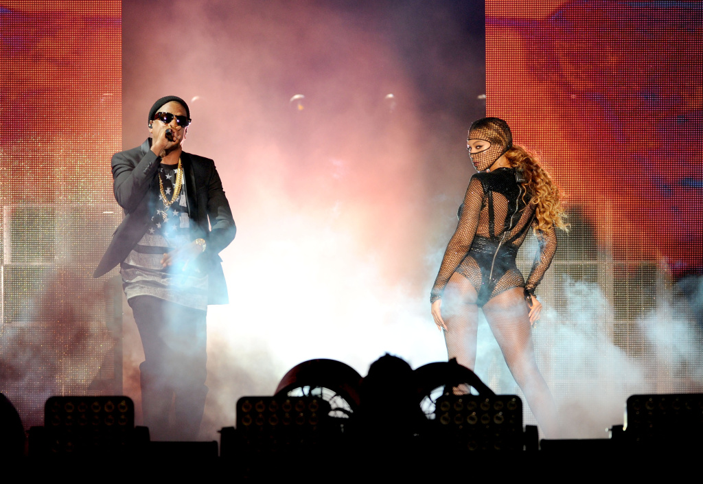 Beyoncé and Jay-Z during their On the Run Tour at the Rose Bowl in 2014.