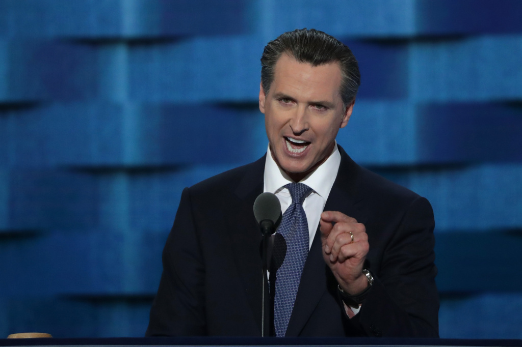 In this file photo, Lt. Gov. Gavin Newsom (D-CA) delivers remarks on the third day of the Democratic National Convention at the Wells Fargo Center, July 27, 2016 in Philadelphia, Pennsylvania. In a press conference the day after Prop 63 passed, Newsom made several claims about the effectiveness of California's gun restrictions.