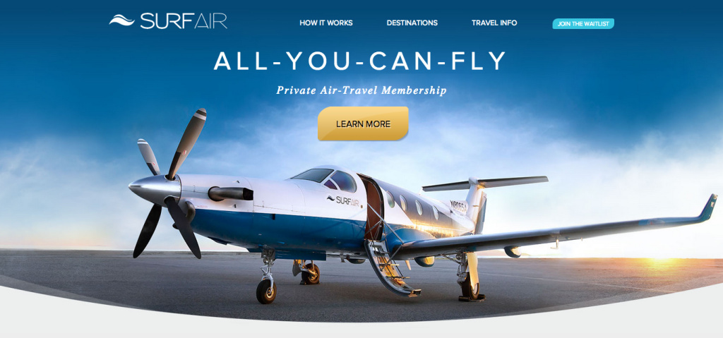 The homepage of Surf Air airlines.