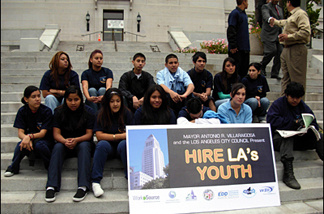 Kids and potential employees gather on the steps of L.A. City Hall to promote the city's summer jobs program.