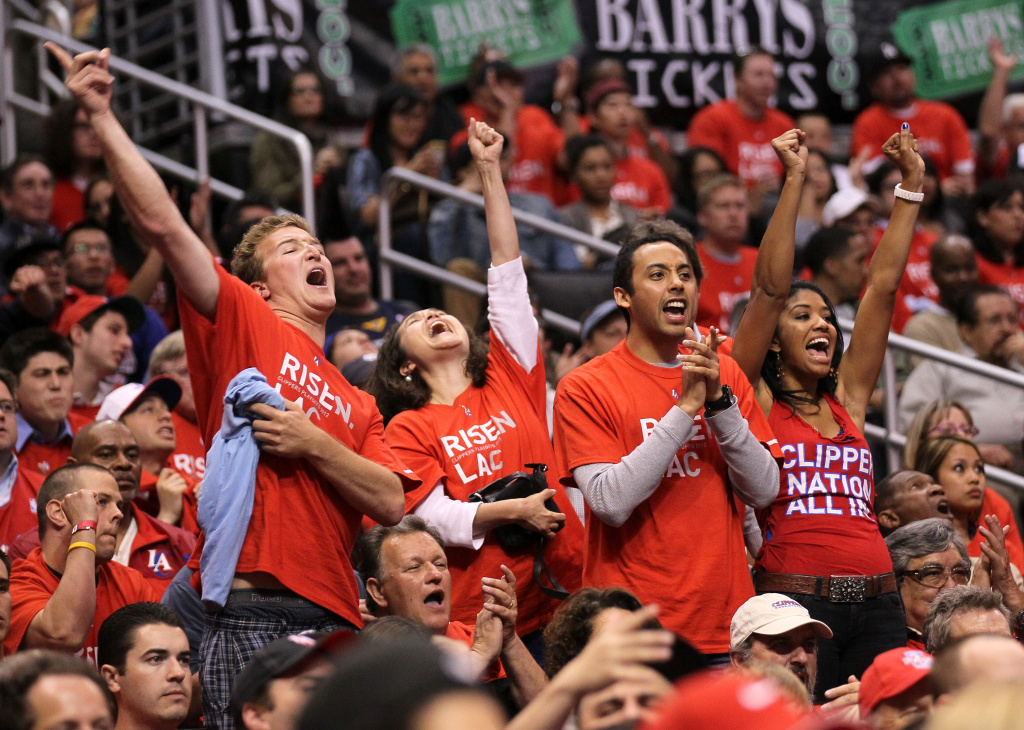 Los Angeles Clippers fans react to a score against the Memphis Grizzlies in Game Four of the Western Conference Quarterfinals in the 2012 NBA Playoffs on May 7, 2011 at Staples Center in Los Angeles, California.
