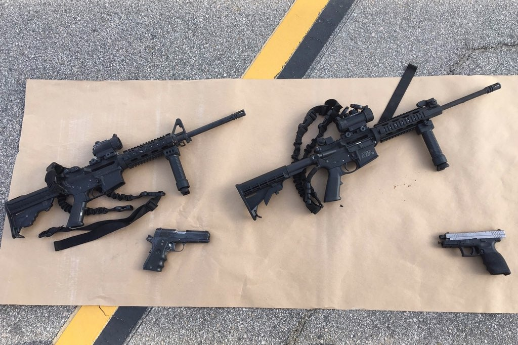 A photo of the four guns used in the San Bernardino shooting.