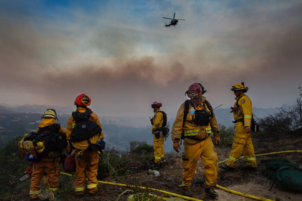 Firefighters put out fires and clear brush in Hidden in the Hidden Valley area of Ventura Country on May 3rd, 2013.