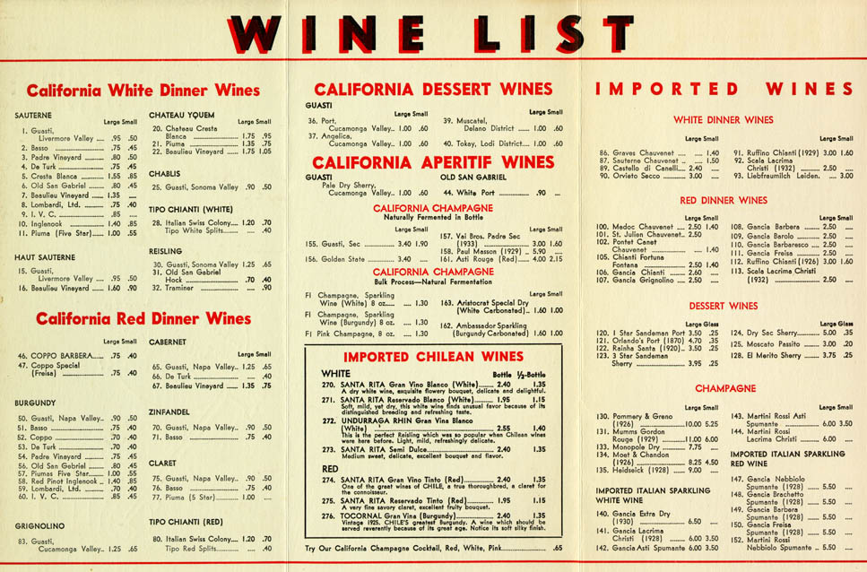 The wine list from Little Joe's Italian Restaurant, which used to be in L.A.'s Chinatown.