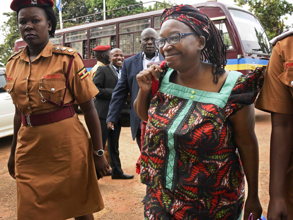 Stella Nyanzi arrives at the High Court in Kampala, Uganda, in April 2017. She had been jailed for