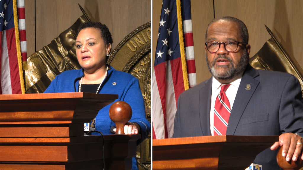 Louisiana state Sens. Karen Carter Peterson and Troy Carter, pictured on Jan. 20, are in a runoff election in the race for the 2nd Congressional District seat on Saturday.
