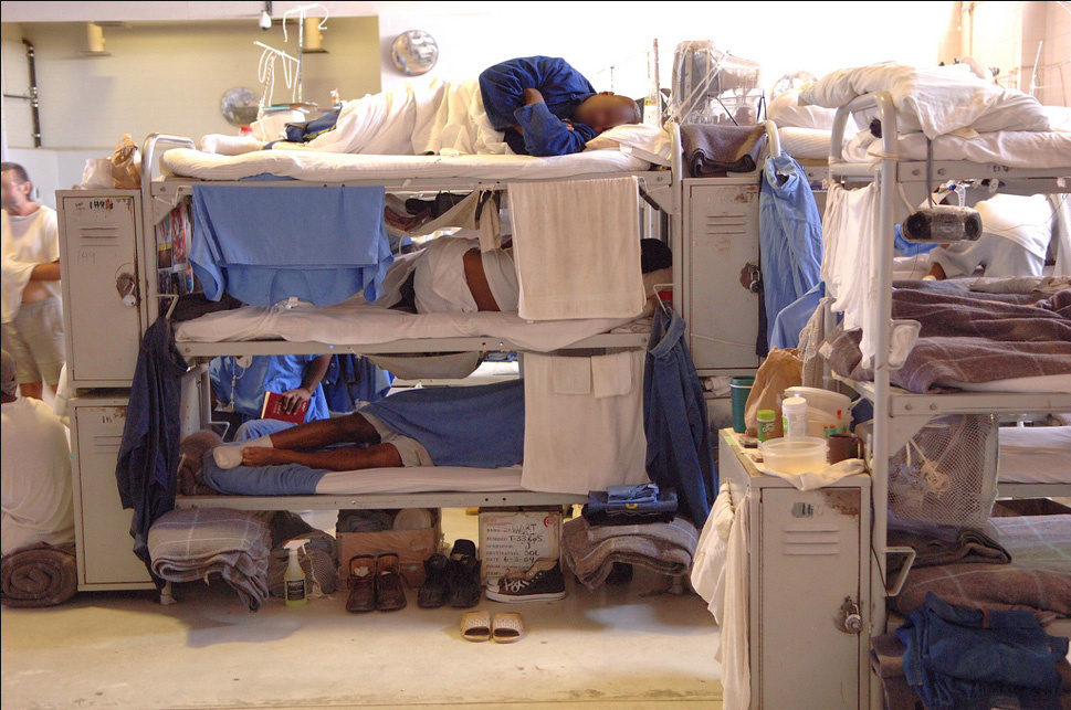 Triple tiered bunk beds at Solano Prison in 2006. A federal judge may transition control over the state prison healthcare system back to the state after seven years of oversight.