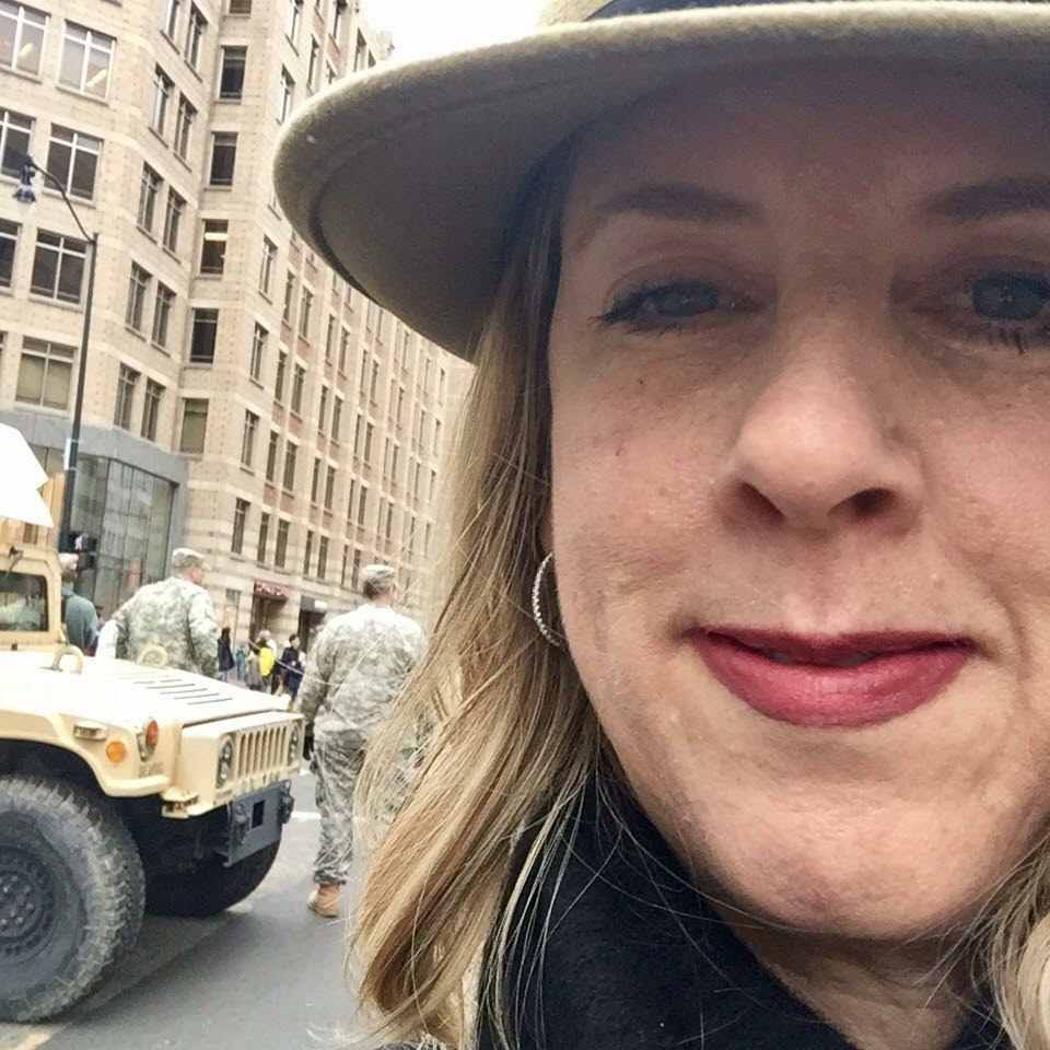 JANUARY 20, 2017 - KPCC listener Clare Sebenius on 18th street in D.C., heading to the Women's March pop-up show.