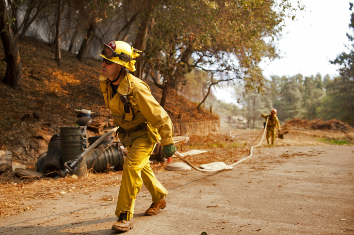 Firefighters work to fight the Colby Fire in the mountains near Glendora on Thursday. The blaze has burned 1,700 acres so far according to LA County Fire as of 10:07 a.m. on Thursday.