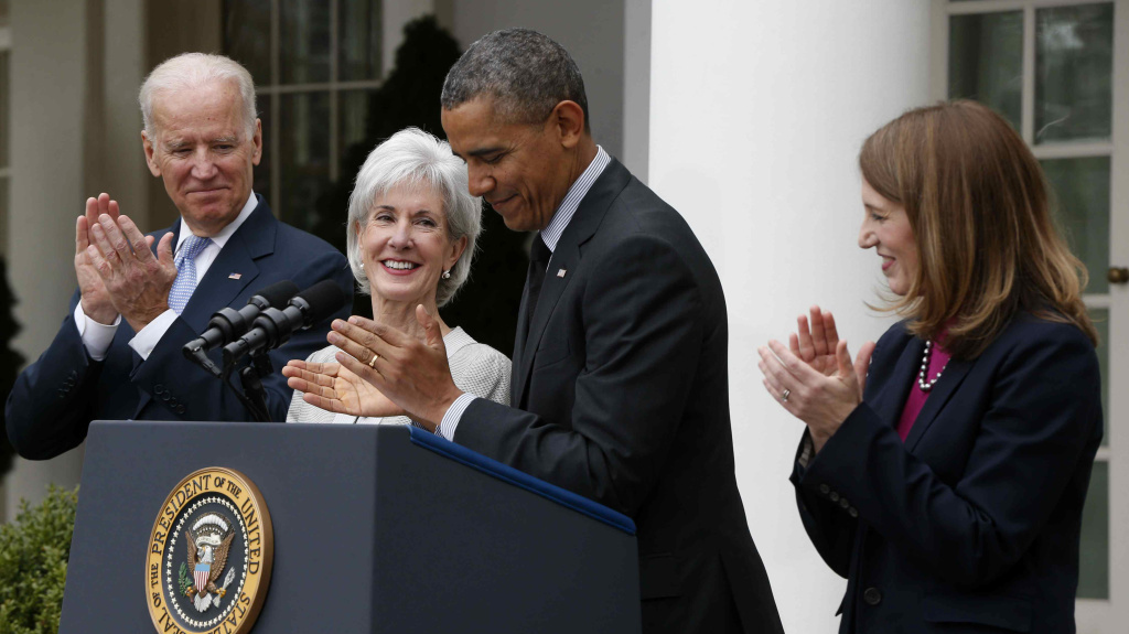 Vice President Biden (from left), Health and Human Services Secretary Kathleen Sebelius, President Obama and Budget Director Sylvia Mathews Burwell at the White House Friday. Sebelius is stepping down. Burwell is being nominated to replace her.