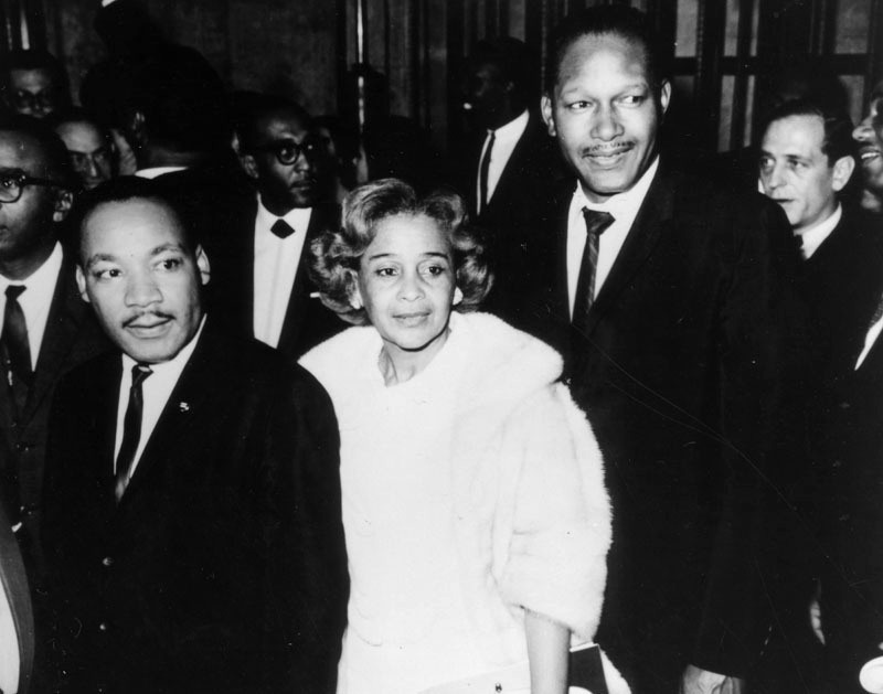 In 1966, the Rev Martin Luther King, Jr., Ethel Bradley, and then councilman Tom Bradley attend a black history exhibit at LA City Hall.