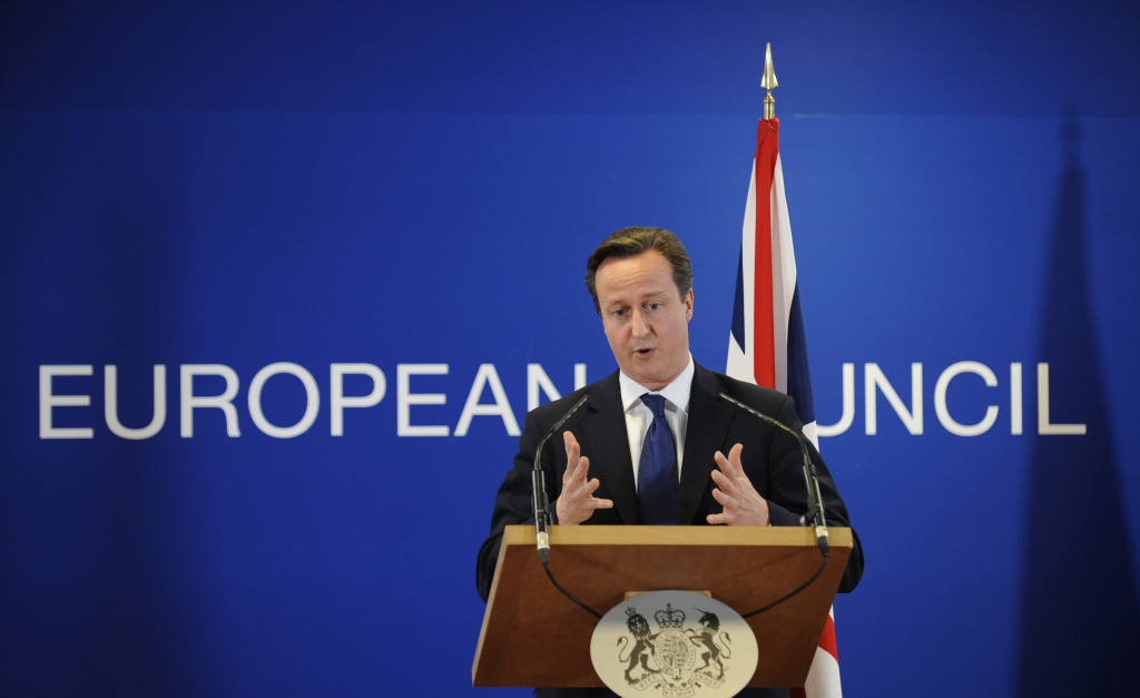 The European Union moved away from its focus on tough austerity Wednesday when it gave France, Spain and four other member states more time to bring their budget deficits under control to support their economies. (Photo: British Prime Minister David Cameron gives a press conference at the EU Headquarters, on November 23, 2012 in Brussels).