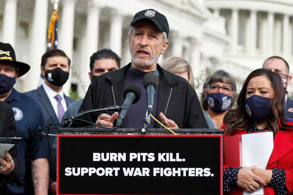 Comedian, writer and veterans advocate Jon Stewart speaks at a press conference on
